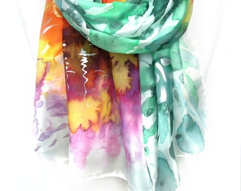 Woman Shawl. Hand Painted Silk Scarf. Echarpe Foulard Soie. Floral Silk Scarf. Gift for Her. Mother Sister Gif. 18x71 in. MADE to ORDER