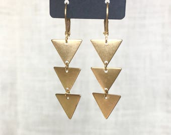 Triangle Earrings - Chevron Arrow Trend - Minimalist Boho Modern - Gold, Silver, and Black - Geometric Dangle Earrings - Edgy Jewelry Gifts