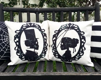 Gentleman Skeleton Silhouette- Halloween pillow cover