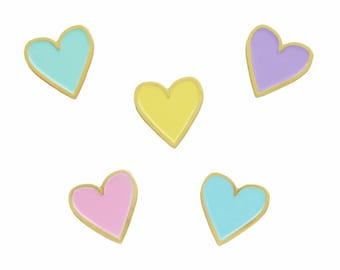 Mini pastel hearts enamel lapel pin set