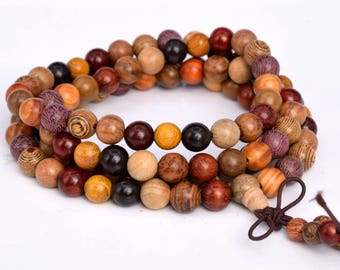 "108 Pcs - 8MM Mix Wood Mala Beads Fragrant Natural Wood Round Beads 35"" (80046)"