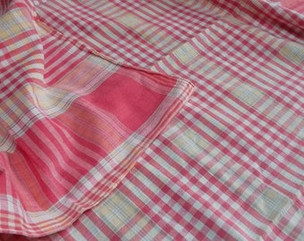 French vintage check cotton tablecloth c. 1940's