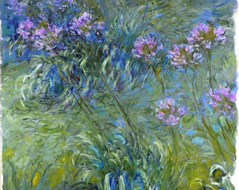 BUY 2, GET 1 FREE! Claude Monet Agapanthus Flowers 486 Cross Stitch Pattern Counted Cross Stitch Chart Pdf Format Instant Download 275303