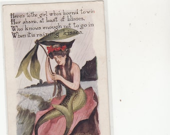 Lovely Mermaid Postcard PM 1909 Embossed,Poetry,Copyright HH Tammen 1906