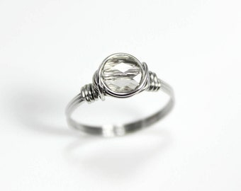 Crystal Ring - Wire Wrapped Rings - Promise Ring - Sterling Silver Ring - Stainless Steel Ring - Gift For Her - Rings For Women - Rings
