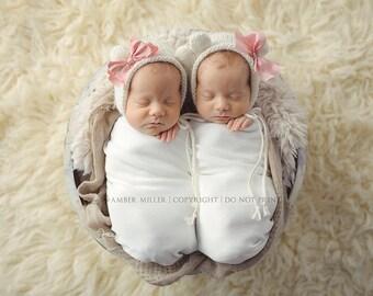 Cream Newborn Bear Bonnet