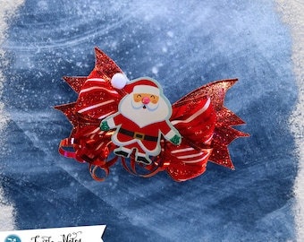 Red Candy Cane Santa Hair Bow | 3in French Barrette | Hand Crafted