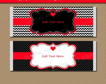 Valentines Day Chocolate Bar Wrappers, Printable Candy Bar Wrappers, Red Black Valentine Party Favors,  EDITABLE Valentine Gift Idea V1