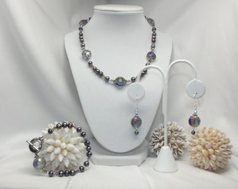 Gray Pearls, Crystals and Silver Necklace Set