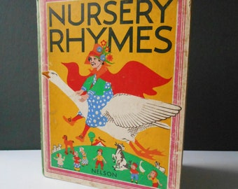 Nursery Rhymes Vintage Board Book  Beautifully Illustrated Book Nelson 1940s 50s