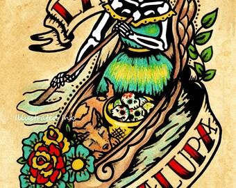Day of the Dead Tattoo Art LA CHALUPA Loteria Print 5 x 7, 8 x 10 or 11 x 14