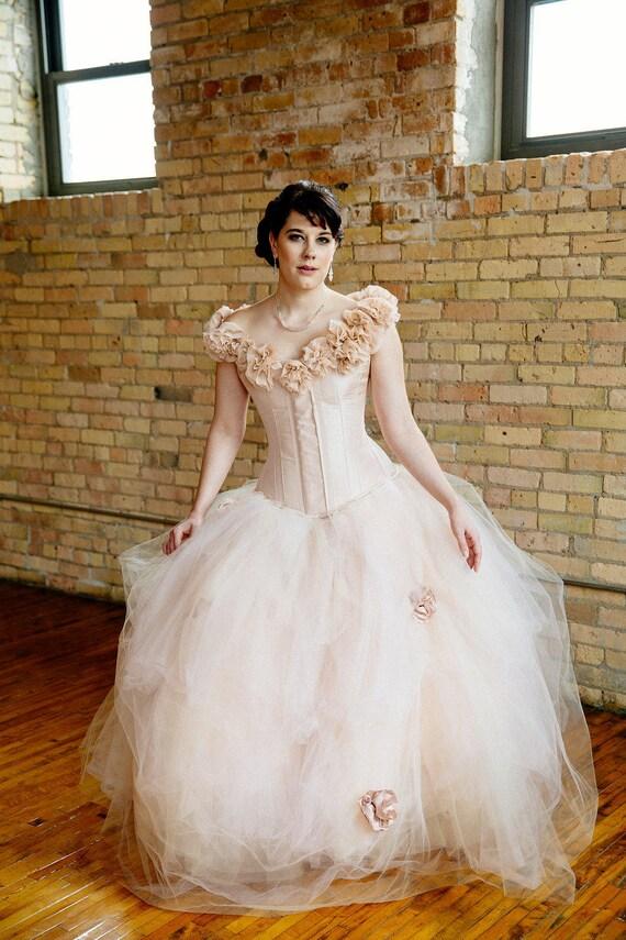 SAMPLE SALE Blush Wedding Dress Tulle Skirt Silk Flowers