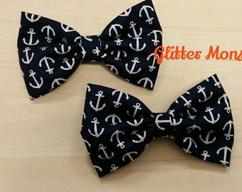 Boys Navy Anchor Bow Tie, Navy Cotton Bow Tie, Ring Bearer Bow Tie, Groomsmen Bow Tie, Summer Wedding Bow Tie, Anchor Themed Wedding