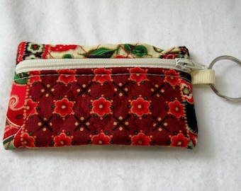 Quilted Coin Purse - Patchwork Change Purse - Small Zippered Pouch  - Red Sage - Quilted Ear Bud Case