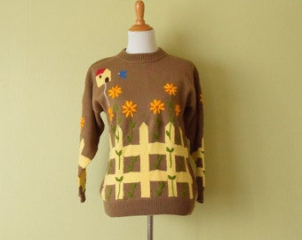 1990s Pullover Sweater with Embroidered Flowers | Picket Fence Garden Sweater