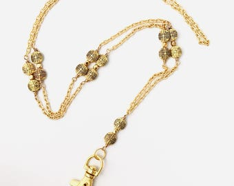Gold Chain Lanyard with Gold Plated Round Disc Beads, ID Badge Holder, Cute Lanyard, Unique Lanyard