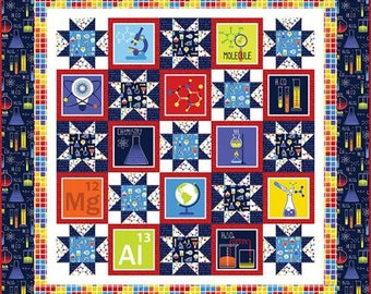 GEEK CHIC Quilt Kit - by Studio E - Free Project Sheet-Quilt Top and Backing-Periodic Table- DNA- Primary Colors-Science Theme_ Incl Backing