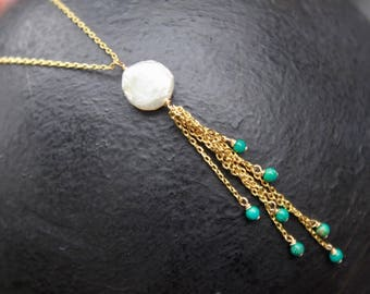Gold plated sterling silver 925 natural coin pearl and turquoise chain necklace 16 inches + 1 inch extender