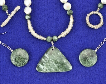 Seraphinite, Pearl, fine Silver (.999) Necklace and Earring Set