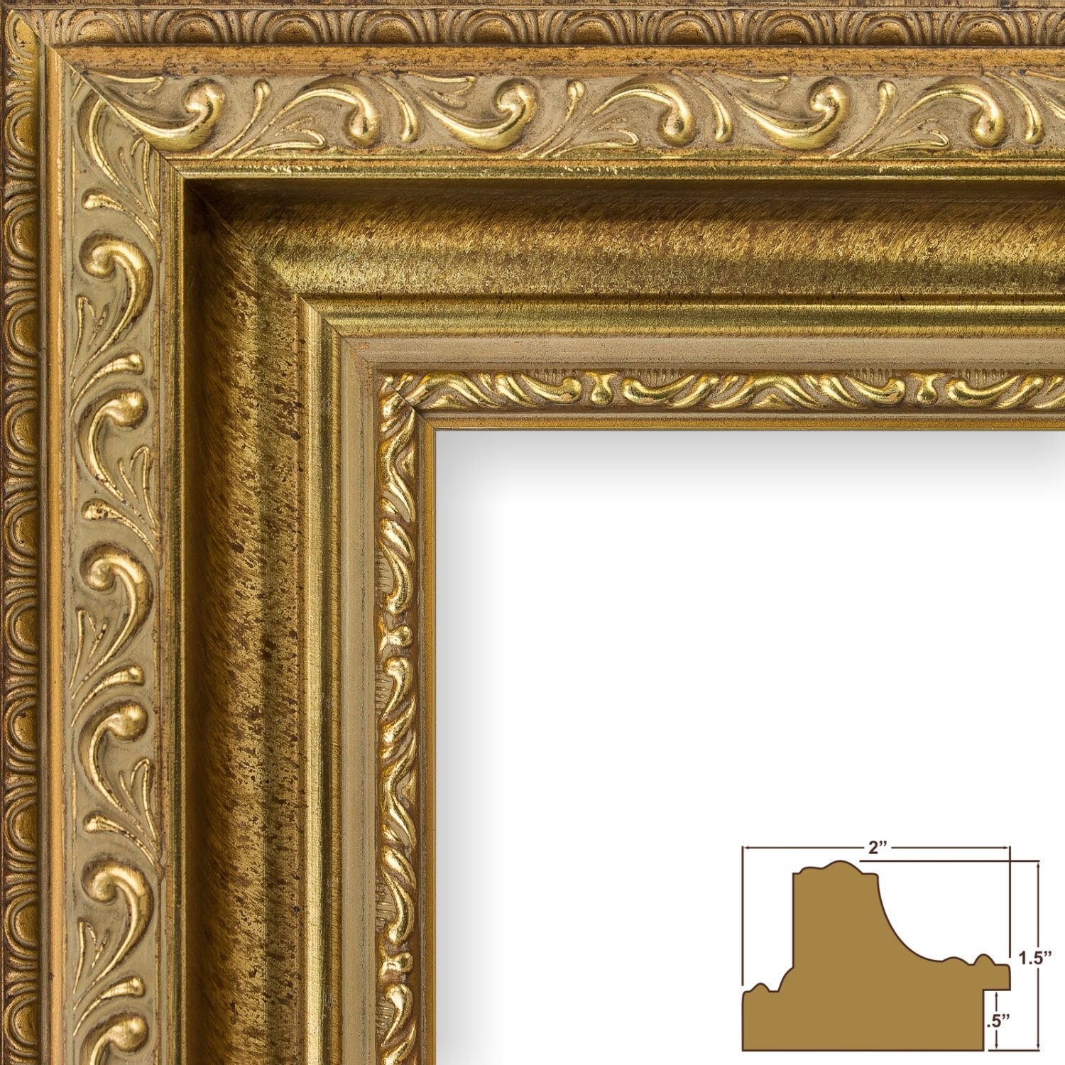 Craig frames 18x24 inch brushed antique gold picture frame 5099 jeuxipadfo Gallery