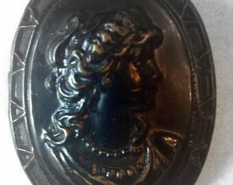 Vintage Metal Bronze Colored Cameo Brooch - Vintage Brooch - Vintage Jewelry - Costume Jewelry - 1960's - Unique Brooch