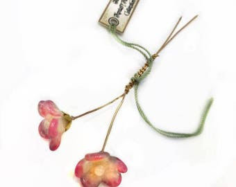Pink Champagne Lampwork Flower Headpin Pair