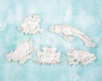 Prima Shabby Chic Treasures Collection Ingvild Bolme Resin Frogs Embellishments