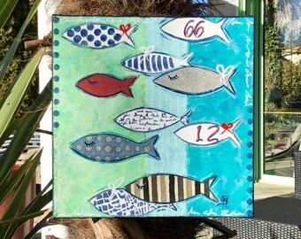 Painting fish painting modern original painting
