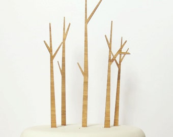Trees Cake Topper Set - Bamboo - Wedding Cake Topper - Rustic Wedding - Modern Wedding