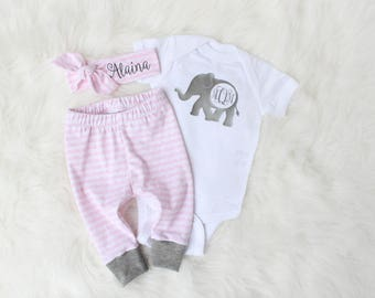 Personalized Name Outfit for Baby Girl - Pink and Grey Outfit - Baby Elephant Outfit - Coming Home Outfit Baby Girl - Gray Pink Baby Gift