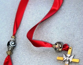 Red Ribbon Bookmark with Holy Spirit Cross