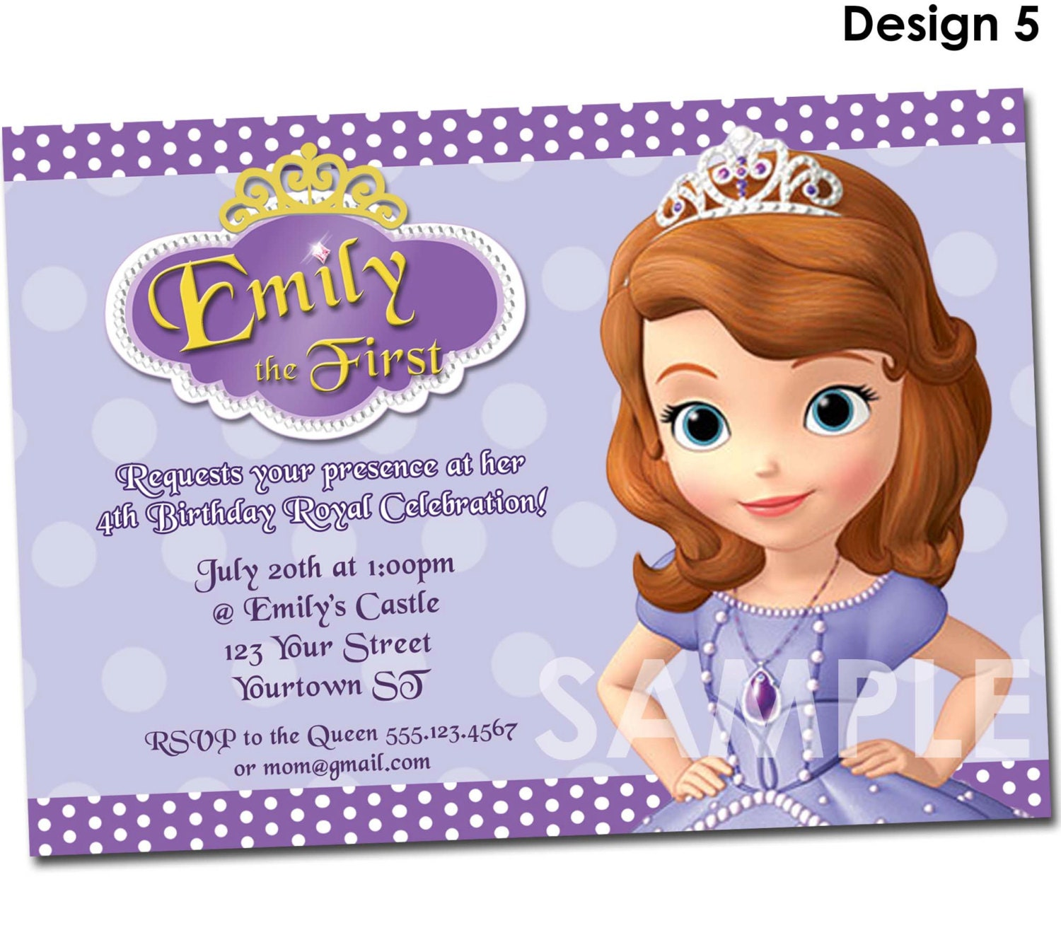 Sofia the First Birthday Invitation Printable Party Invite