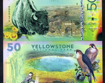 Yellowstone National Park, 50 dollars, 2018, Bison, Falcon - Polymer
