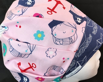 Yo, Ho! Surgical Cap bouffant Scrub Hats Surgical Scrub Caps for Women Hat Techs Nurses Teal Dots band LoveNstitchies Girl Pirate Pink Blue