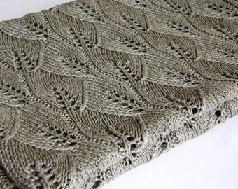 Linen throw blanket hand knit-linen bedspread-linen coverlet-linen blanket-bed cover gray-organic-linen bedding-custom size blanket-lace