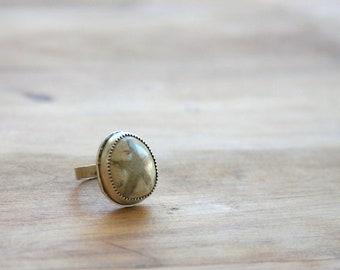 Sand dollar fossil ring, sterling silver ring, beach jewelry, artisan jewelry, statement ring