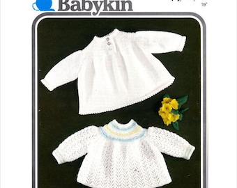 vintage knitting pattern for baby  stunning angel  tops 19 inch chest  dk/ 4 ply quickknit wool