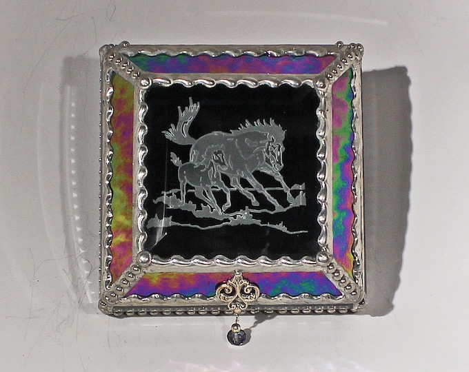 Etched  Equine Mare & Foal - treasure Box