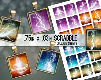 Space Abstract Glow Digital Collage Sheet Digital Scrabble Tile Images .75x.83 on 4x6 and 8.5x11 Download Sheets for Glass or Resin Pendants