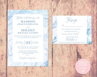 Blue Madison Marble Collection Wedding Invitation and RSVP design - DIY Printable or Printed Option - Lovely Little Party