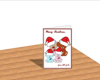 Christmas Teddy Bear Card Christmas Cards Printable Christmas Card Digital Cards Merry Christmas Cards With Envelope Holiday Cards Blank