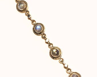 925 Women's Sterling Silver Bracelet with Moonstone