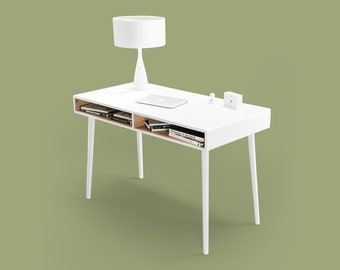 Modern white lacquered Oak Desk with Open Cubbies Mid Century Design