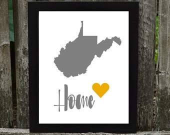 West Virginia Digital Download, West Virginia Print, States Downloadable Print