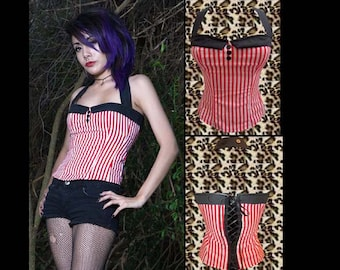 Red Pinstriped Psychobilly/ Rockabilly Corset Style Sailor collar Corset Style Top Sz. Small