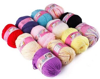 Balls of yarn cotton baby, various colors