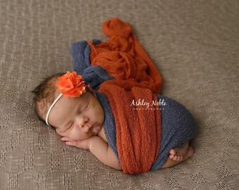 baby headbands, photography prop, photo props, Orange Satin Mesh Flower Headband