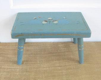 Vintage Blue Wood Stool, Rustic Primitive Stool, Shabby Cottage Chic Stool, Acorn Stool, Vintage Wood Bench, Wood Bench, Light Blue Stool