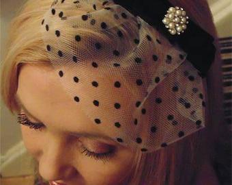 Black blusher veil, Gothic tulle veil, 1950s mini veil, black polka dot veil, bridal tulle veil, Gothic fascinator, tulle birdcage veil