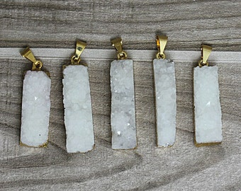 Rock Crystal Quartz Druzy Druzzy Drusy Rectangle Bar Pendant with Gold Electroplated Edge (S5W2-05)